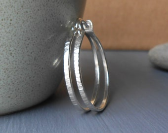 Hammered Sterling Silver Hoops, 1 inch