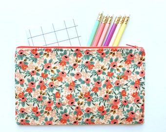 Rifle Paper Co Fabric Zipper Pouch, Pencil Case, Rosa Floral Pencil Pouch, Peach Cosmetic Bag, Coral Gift bag