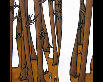 Tall Trees Acrylic Painting of Hikers in the Woods, Contemporary Painting, Magical Realism, Hiking, Forest Painting