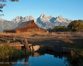 Barn at Sunrise, Grand Tetons Barn photograph, Wyoming Landscape Old Barn, Old Famous Building, Photograph or Greeting card