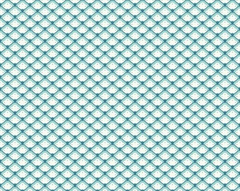 Aqua with Cream patterns fabric, Lost and found 2 by Riley Blake C3694