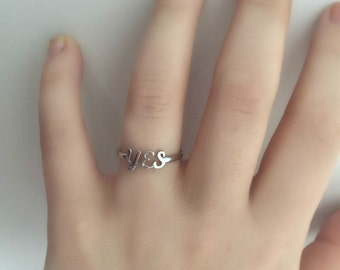 Promise Ring, Gold Promise Ring, Simple Promise Ring, Bridemaids Ring,  Yes Ring- Braidmaids Yes Ring- Promise ring,Yes Promise Ring