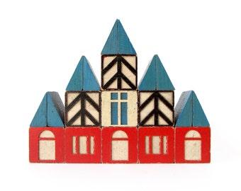 Village Wooden BUILDING Blocks - Set of 19 Vintage Blocks