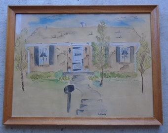 Vintage Watercolor / Broken Arrow Ok. / Signed and Dated