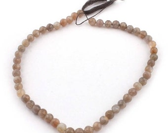 Memorial Day 1 Strand Long Gray Moonstone Faceted Round Ball Briolettes - Ball Beads 7mm 13 Inches SB5022