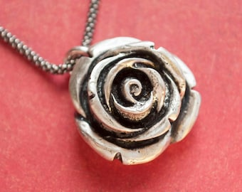 Rose Necklace, Nature Jewelry, Silver Rose Pendant, Sterling Silver Rose Pendant Necklace