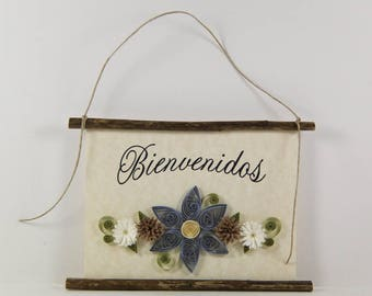 Bienvenidos, Spanish Welcome, Paper Quilled Welcome Sign, 3D Quilled Banner, Blue Brown White Decor, Spanish Gift, Rustic  Wall Art Decor