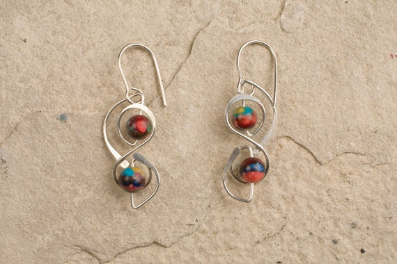 sterling silver designer earrings, gold filled, niobium, wireworking, CHOICE of BEADS & METAL
