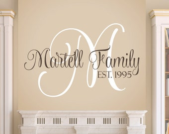 Family Wall Decal - Monogram Family Vinyl Decal Set - Personalized Wedding Decal