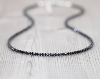 Black Spinel Necklace in Sterling Silver, Gold or Rose Gold Filled. Delicate Beaded Gemstone Choker or Long Layering Necklace in any length