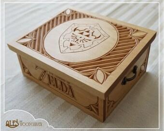 Legend of Zelda trinket box - hand carved in basswood, chip carving style, Hylian shield design