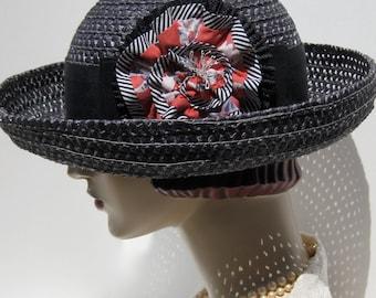 ON SALE/ Black Straw Breton Hat with Ruffled Flower