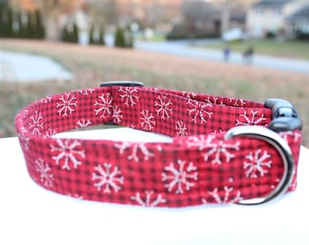 red plaid snowflake dog collar martingale or buckle winter