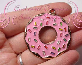 """2"""" Pink with Multicolor Sprinkles Sweet Treat Donut, Chunky Pendant, Bookmark, KeyChain, Bookmark, Zipper Pull, Planner Charm, Purse Charm"""