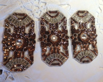 Vintage Sequined and Beaded Rectangle Appliqué