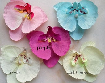 50PCS  9*10cm Radiant Orchids Silk Phalaenopsis Artificial Silk Orchid Flower Heads Fabric Silk Flowers Hair Clips DIY Crafts