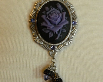 MIDNIGHT GARDEN - purple rose cameo necklace by Crow Haven Road