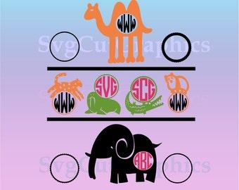 Animals Monogram SVG  Frames, SVG Cutting Files, Animals Svg Files, Svg Files, SVG Silhouette Files, Svg Cricut Files