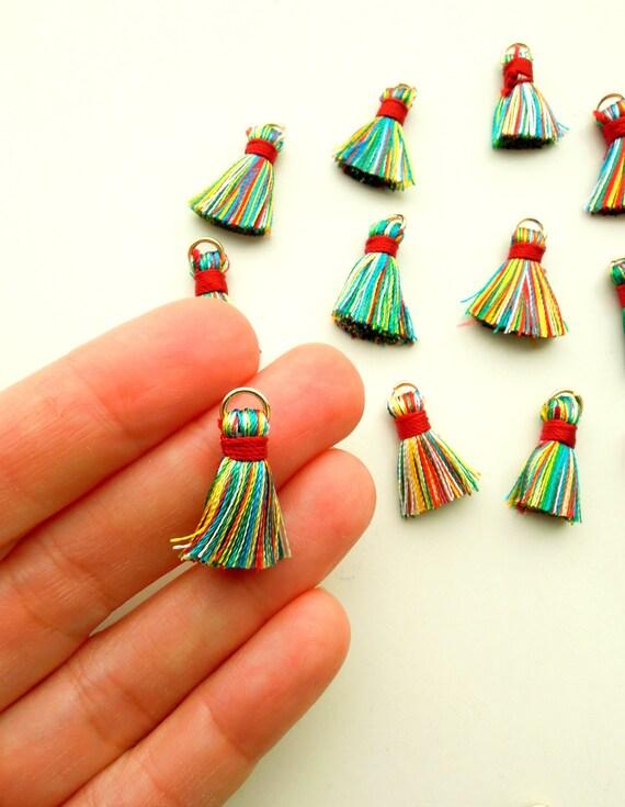 10 multicolour small jewellery tassels  Colourful jewelry mini tassels with jump ring  Rainbow multi-colour mala jewellery tassels 2 cm