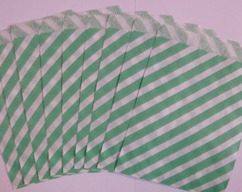 "25 Turquoise and White Striped Paper Treat Baggy- Goody Favor Bitty Bags- Baby Bridal Shower Gift Bag-Candy, Treats, Utensil Baggy- 5"" x 7"""