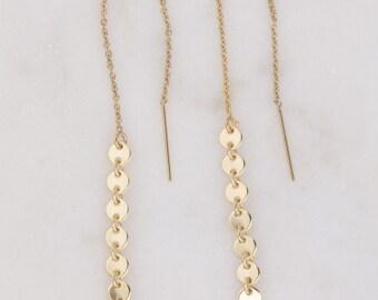 Gold Coin Dangle Threader Earrings, Gold Earrings, Dangling Earrings, Tassel Earrings in Sterling Silver or 14K Gold Filled, Gift For Her