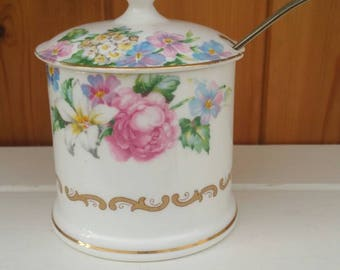 Crown Staffordshire bone china preserves pot/brendon design/English fine china /floral china pot/ships worldwide from UK