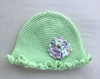 Apple Green Ruffled Cap