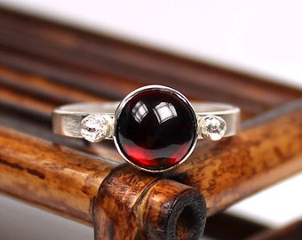 Garnet Ring, Gemstone Ring, January Birthstone Ring, Sterling Silver Ring, Handmade Ring