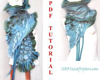 Shibori Felting Textured Ruffled Nuno Felt Scarf PDF Tutorial Pattern - Ripples - Wet Felted Scarf Instant Download