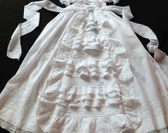 Vintage French Handmade Christening Gown with Lots of Hand Embroidery