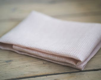 Pure linen pink waffle face, hand and bath towels. Lightweight travel towels. Natural linen towels. Spa towels, gym towels.