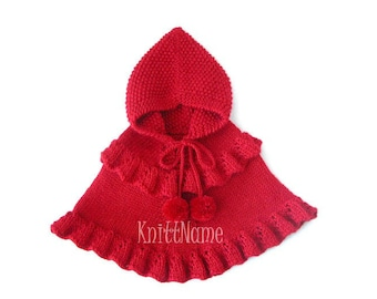 Little Red Riding Hood Cape, Christmas Baby Girl Sweater, Toddler Knit Poncho, Fairytales, Birthday Party, Baby Shower Gift, Made To Order