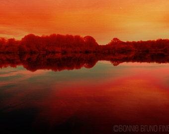 ORANGE SUNSET at the Lake digitally painted photographic print - home decor - vibrant warm colors red orange turquoise, reflective water