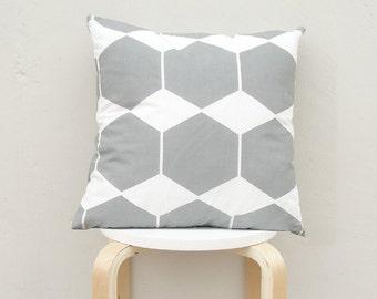 Gray Hexagon pillow cover, Gray Geometric Pillow Case