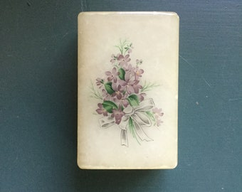 Vintage alabaster box, jewelry box, trinket box, ring box, lilacs, made in Italy