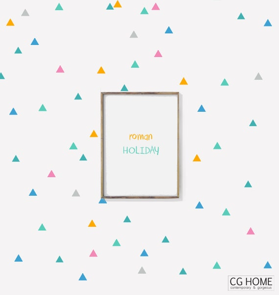 multicolor TRIANGLE decals BIG Pack 10 colors Triangles pattern Vinyl Wall Art SCANDINAVIAN Nursery Sticker Decoration for kids Customized