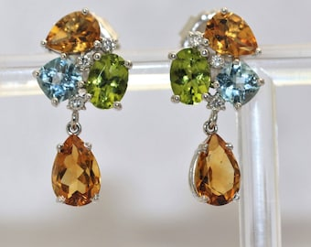 Multi Color  Tourmaline Peridot  Drop Earrings- 14k White Gold