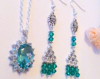 Aqua Pendant Necklace with Crystal Beaded Chandelier Earrings Set