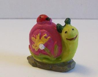 Miniature snail with lady, Fairy garden or terrariums mini tiny snail figurine