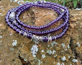 Sale~Amethyst purple Buddhist Mala prayer beads