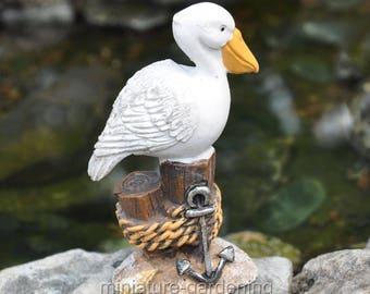 Pelican on a Stump for Miniature Garden, Fairy Garden