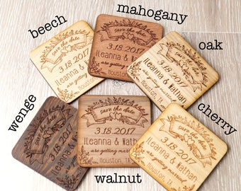 Wedding save the dates, save the date wooden magnets,Save the dates, engraved wedding magnets, rustic save the dates, set of 25