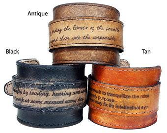 Personalized Leather Bracelet - Mens Bracelet - Engraved Bracelet