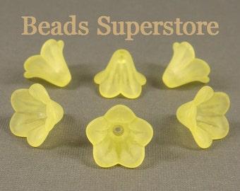 FINAL SALE 14 mm x 10 mm Yellow Lucite Flower Bead - 15 pcs