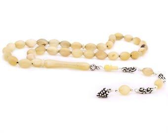 925 Carat Silver Whip, Natural Aries Horn Rosary Tesbih
