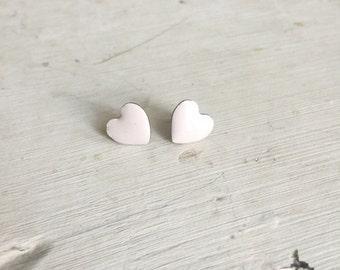 Vintage Earrings - Pale Pink Heart Stud Earrings - Simple Pink Heart Shaped Earrings, Heart Jewelry, Heart Accessory