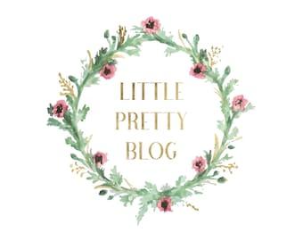 Premade logo, Watercolor logo, Blog logo, Blog header, Personalized Logo, Header, Watercolor header, Wreath Logo, Logo design, Floral, Gold