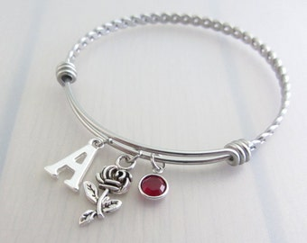 Rose Flower Charm Stainless Steel Bangle, Birthstone Initial Bangle, Personalised Silver Letter Bracelet, Adjustable Bangle, Nature Gift