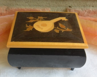 Reuge Music Box - Evergreen, Swiss Music Movement, Inlaid Wood - Vintage - Fabulous!