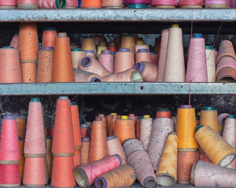 Rainbow Threads Photography, Spools of Thread Vintage Sewing Decor, Colorful Bright, Abandoned Factory Urban Decay, Clothing Industrial